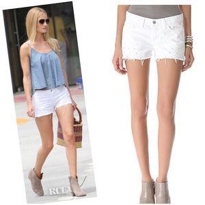 J Brand white cutoff peek thought mid rise shorts